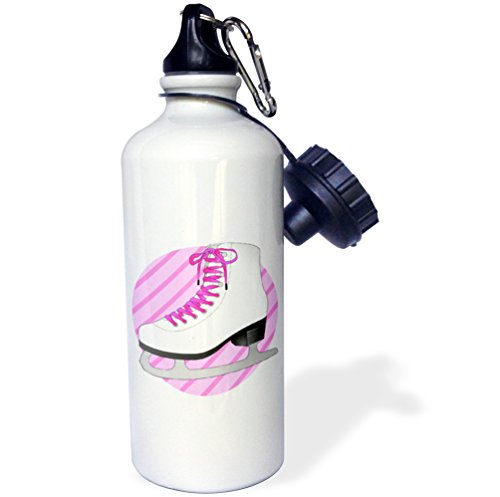 Ice Skate Backpack - 3dRose wb_77474_1 Figure Skating Gifts-Pink Ice Skate on Stripes Sports Water Bottle, 21 oz, White