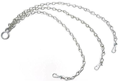 Bulk Hardware BH00277 3 Leg Chain with Clips and Hanging Ring for Hanging Baskets, BZP 400 mm (16 inch) Bulk Hardware Ltd