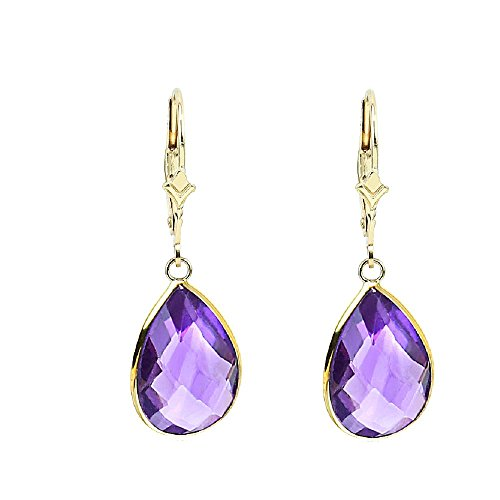 14K Yellow Gold Handmade Gemstone Earrings With Dangling Pear Shape ()