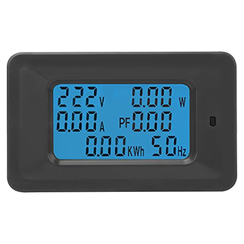 6-in 1 Home Electric Meter Panel AC 20A 110-250V Digital Display Multifunction Power(Watt) Current(Ampere) Voltage(Volt) Meter Tester Panel Energy Usage KWH Frequency Monitor by Walfront