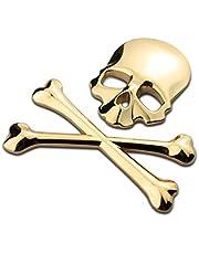 WINOMO 3D Schedel Metalen Skelet Crossbones Sticke sticker Skull Embleem Badge voor Auto Motor (Goud)