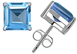 0.85 Ct Blue Topaz Gemstone Birthstone 925 Sterling Silver Stud Earrings Princess-Cut 4x4mm For Women