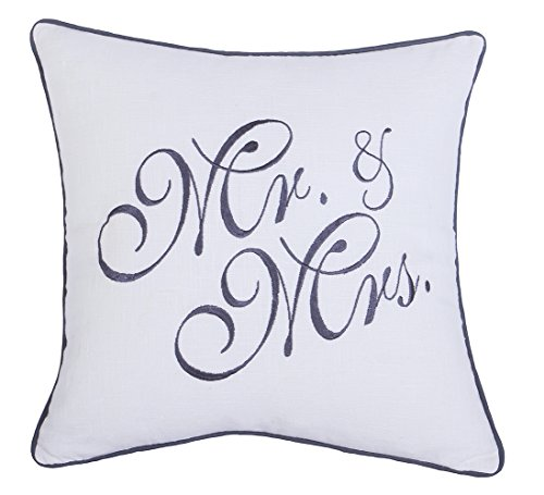 YugTex Pillowcases Mr & Mrs Embroidered Throw Pillow cover for Wedding Anniversary Couple He & She Gift Cushion cover (18