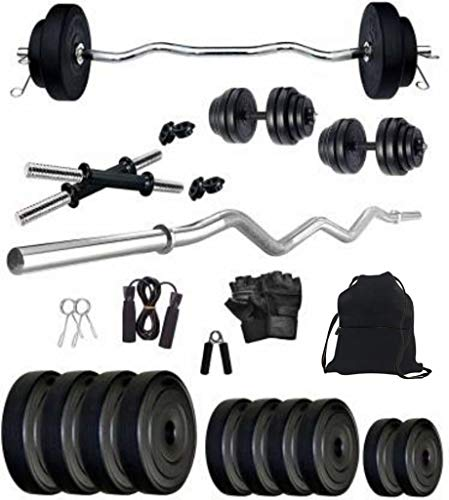 Rockfit 8kg-40kg PVC Weight with 3ft curl Rod and Accessories Home Gym Combo