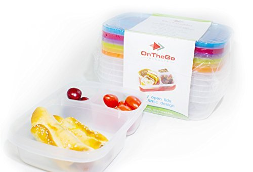 OTG Bento Lunch Box, 6pc Bundle 3 Compartment Reusable Food Containers for Kids and Adults, Microwave, Dishwasher Safe, Multi-Colored (11 Piece Deluxe Block)