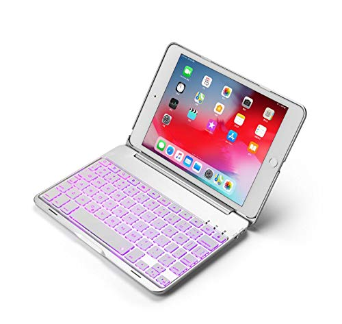 WLWLEO for iPad Mini4/5 Tablet Ultra-Slim Metal Cover Case with Backlit 7 Color Wireless Bluetooth Keyboard,Silvergrey,ipadmini5 by WLWLEO