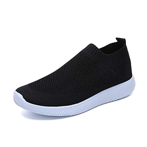 Festnight Womens Walking Shoes Knit Tennis Sports Shoes Lightweight Mesh Slip-on- Breathable Yoga Sneakers Black