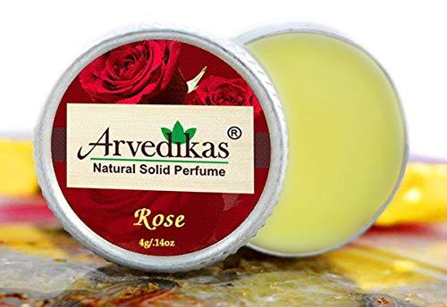 Arvedikas Rose Natural Solid Perfume Beeswax/Body Parfum/Mini Jar/Floral Fragrance/Persian Rose/Essential Oil Blend Perfume/Organic Vegon Travel Perfume / 4gm (23 Varieties) (Rose)