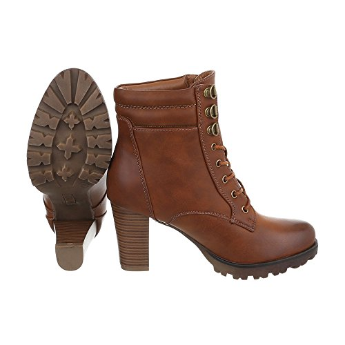 Ital-Design - Botas Militar Mujer marrón claro