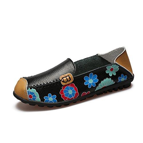 KEESKY Womens Slip-On-Wohnungen Freizeitschuhe - Blumendruck Leder Driving Loafers Schwarz