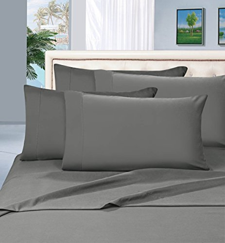 Elegant Comfort 1500 Thread Count Egyptian Quality 6 Piece Wrinkle Resistant Luxurious Sheet Set, King, Gray (1500 Thread Count Egyptian Cotton Sheets King)