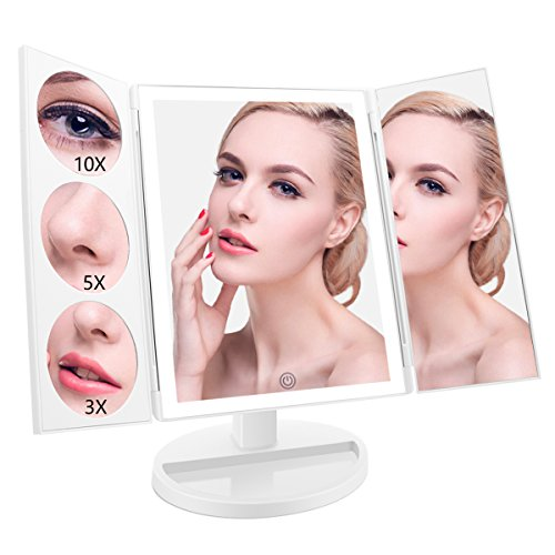 ASCINATE Large LED Lighted Makeup Mirror (X-Large Model), Trifold Vanity Mirror with 10X/5X/3X Magnification, Touch Screen, 360° Free Rotation, Double Power Supply, Countertop Cosmetic Mirror (White) - Free Time Dresser Mirror