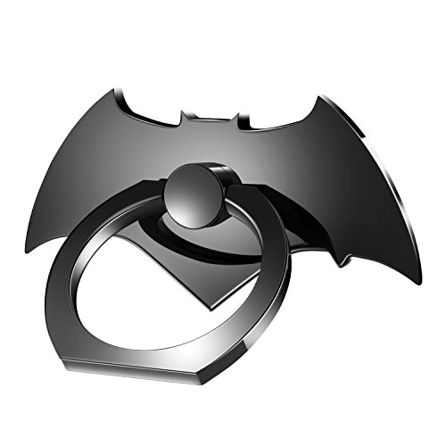 Bat Phone Ring Holder, Lamyik Stylish Finger Grip Stand Zinc Alloy 360 Degree kickstand for iphone, Samsung, Other Cell Phone and Tablet (Cool Black)