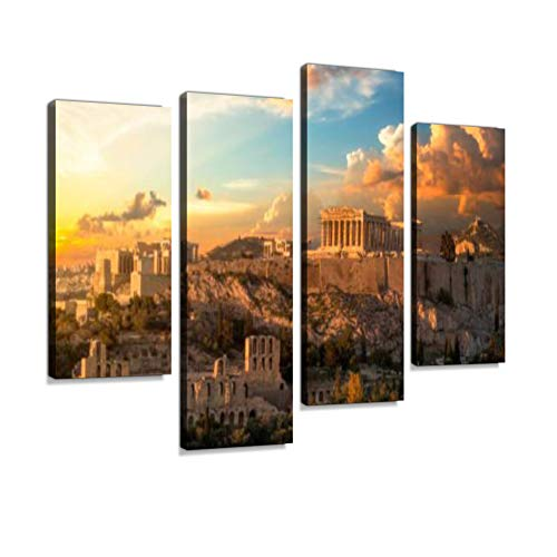 Acropolis of Athens at Sunset with a Beautiful Dramatic Sky Canvas Wall Art Hanging Paintings Modern Artwork Abstract Picture Prints Home Decoration Gift Unique Designed Framed 4 ()