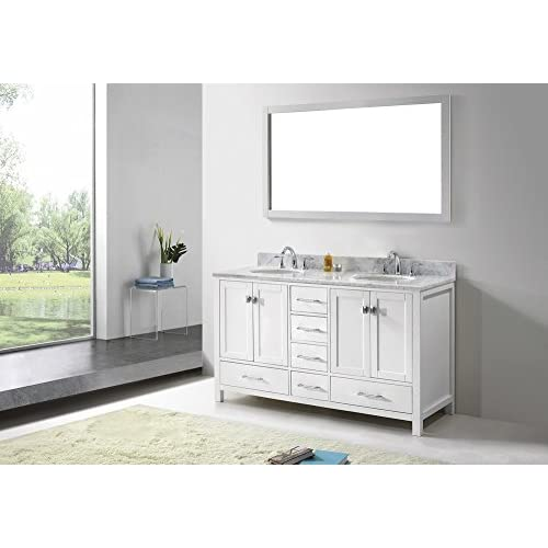 new Malibu Caroline 60-Inch Bathroom Vanity with Double Round Sinks and Carrera White Marble