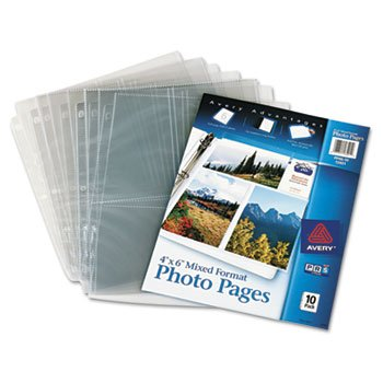 Avery Dennison Photo Storage Pages for Six 4 X 6 Mixed Format Photos, 3-Hole Punched, 10/Pack ()
