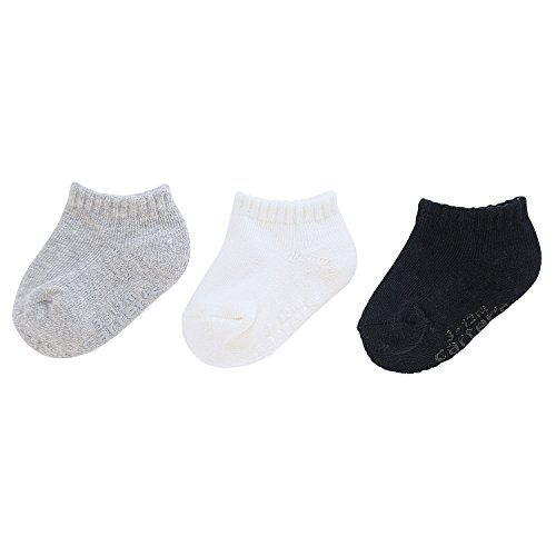 Carter's Baby Boys Ankle Socks (3 Pack), Grey/White/Black Cushion Foot, 12-24 Months