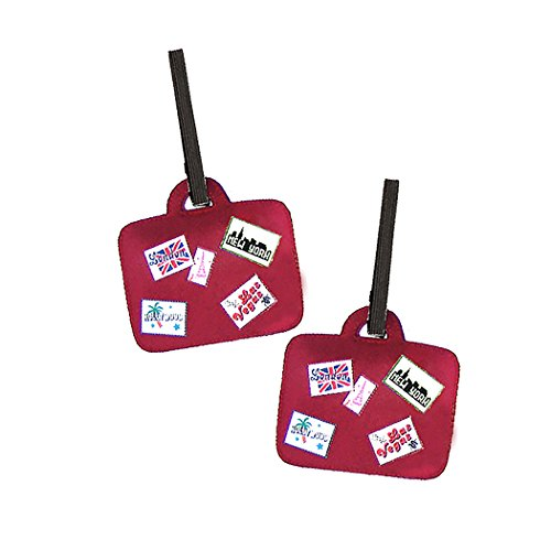 Miamica Luggage Tags 2 Piece Set Suitcase Shape, Red, One Size