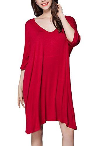 Dolamen Camisón para mujer, Mujer Camisones Camisa de dormir, Nightdress, Lounging Modal Algodón Top Loose Lencería Camisón de Manga corta Rojo