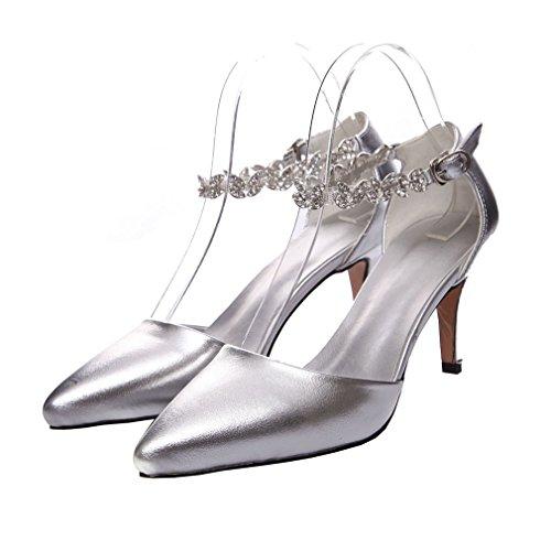 ENMAYER Damen Wölbungs-Bügel-hohe Absätze Schuhe für Frauen Spitz-Zehe Rhinestones-beiläufige Partei-Stilett-Pumpen-Schuhe Silber
