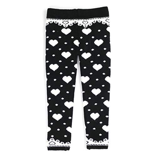 sissymini Infants & Toddlers - Heart Design Wool Knitted Winter Extra Thick Thermal Legging | All I Want is You (Black, 2T) -