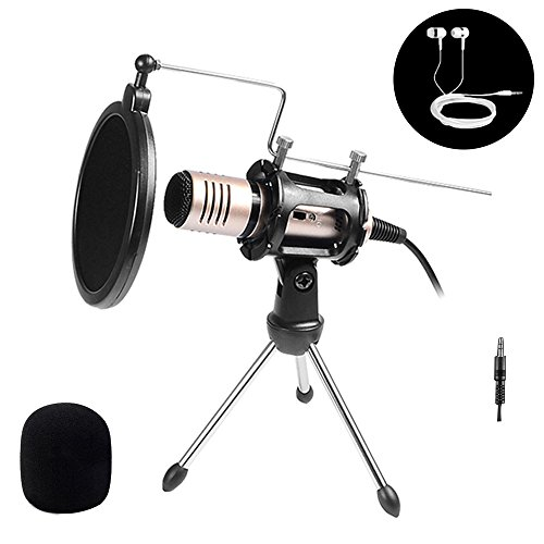 KeWalker 3.5mm Plug and Play Home Studio Desktop Condenser Microphone Compatible Apple Android Chatting Recording Singing Karaoke with Desktop Tripod for Skype,YouTube,Games by KeWalker