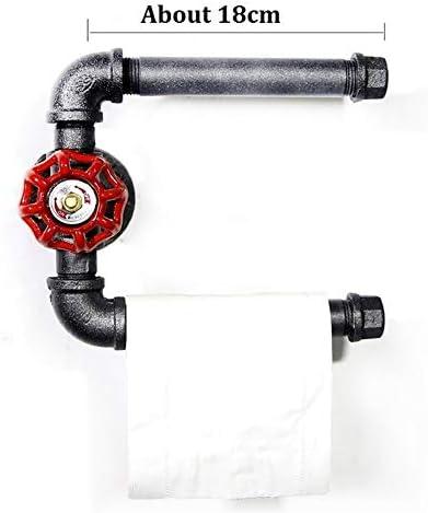 ヴィンテージウォールは、トイレットペーパーホルダー8インチ工業用パイプデュアルロールティッシュペーパーロールホルダーヘビーデューティ素朴なハンドタオルバーが浴室ストレージ用ラックマウント (Color : Black)