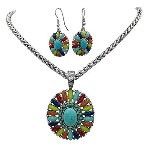 Gypsy Jewels Multi Color Simple Pendant Silver Tone Imitation Turquoise Boutique Style Statement Necklace & Dangle Earring Set (Oval 3)