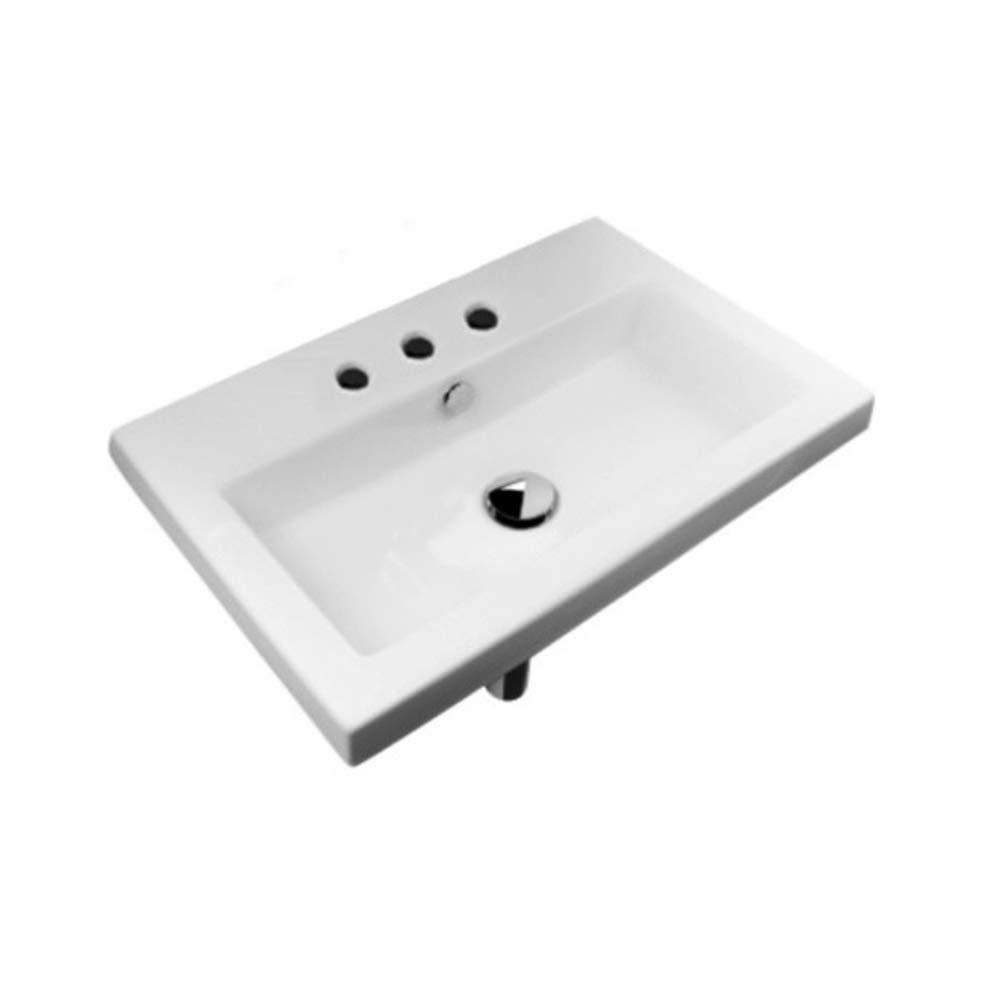 Tecla 4001011-Three Hole Series 40 Rectangular Ceramic Self Rimming//Wall Mounted Bathroom Sink White Nameeks Tecla 4001011-Three Hole-637509852184