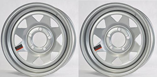 2-Pack Trailer Wheel Silver Rims 14 x 5.5 Spoke Style (5 Lug On 4.5