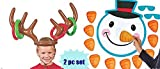 2 Awesome Christmas Holiday Party Games - Reindeer Antler Inflatable Ring Toss - PIN the Nose on the Snowman - Kids Childrens Activity - Classroom - School Daycare by happy deals
