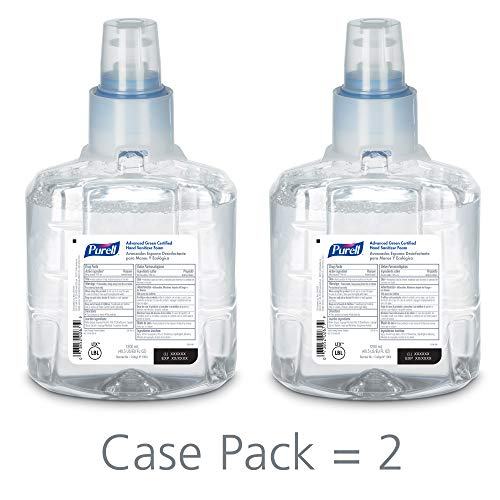 PURELL LTX-12 Advanced Green Certified Hand Sanitizer Foam, Fragrance Free, 1200 mL EcoLogo Certified Sanitizer Refill for PURELL LTX-12 Touch-Free Dispenser (Pack of 2) - 1904-02 ()