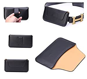DFV mobile - Belt clip holster horizontal ultra thin synthetic leather premium for => ALCATEL ONE TOUCH POP C9 > Black