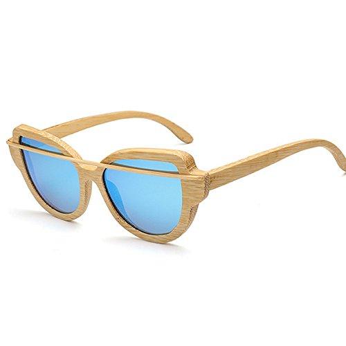 de simple de de sol mujeres Unisex Lente UV bambú hombres gafas sol las de Retro protección sol gato colorida de Marco de de de polarizadas Ojos Gafa Azul madera conducción gafas gafas gafas de sol para de q7qpX01