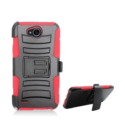 LG X Power 2 Case, LG LV7 Case, Allmet [Red] Premium Durable Rugged Impact Hybrid Armor Holster Belt Clip Stand Combo Case Cover for LG X Power 2 / LV7 2017
