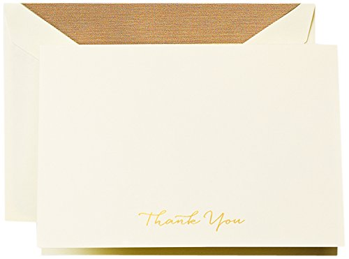 Crane & Co. Engraved Gold Script Thank You Note (CT1513) by Crane & Co.
