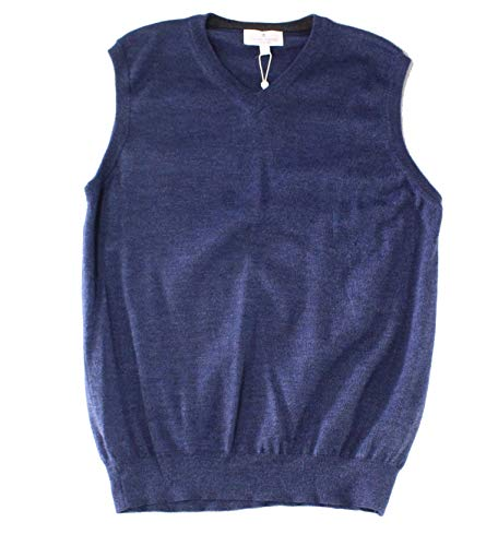 TOSCANO FIRENZE Mens Large Ribbed Vest Wool Sweater Blue -