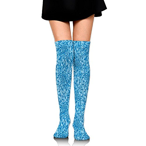 Hd Fire Petals - Hizhogqul Digital Peony Leaf Petal Form With Row Of Flattened Expanded Rays Nature Women's Fashion Over The Knee High Socks (60cm)