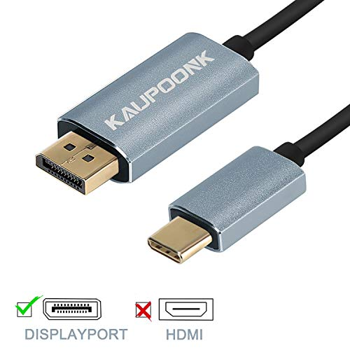 KAUPOONK USB C to Displayport Cable 4K 60Hz,Type C to DP Cable Compatible for Thunderbolt 3 Mac Pro MacBook Pro 2018 2017 MacBook Air iPad Pro Dell Sumsang and More, 6ft
