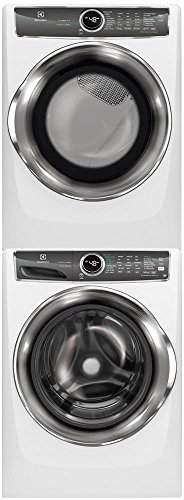 Electrolux White Front Load Laundry Pair with EFLS627UIW 27″ Washer, EFMG627UIW 27″ Gas Dryer and STACKIT7X Stacking Kit