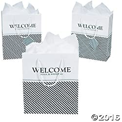 Nautical Welcome Wedding Gift Bags, Navy, 12 ct