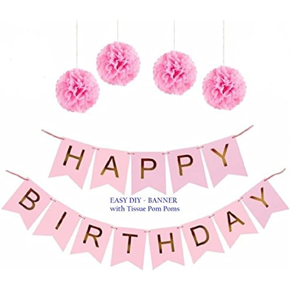 Pink Happy Birthday Party Banner