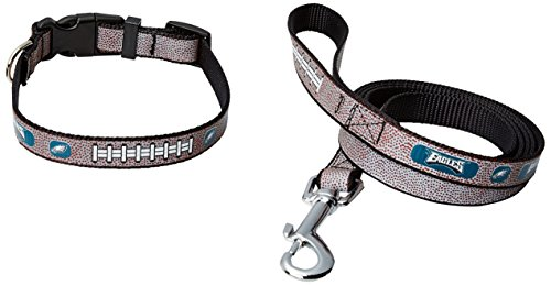 GameWear NFL Philadelphia Eagles Reflective Football Collar & Leash Gift Pack, Large, Brown