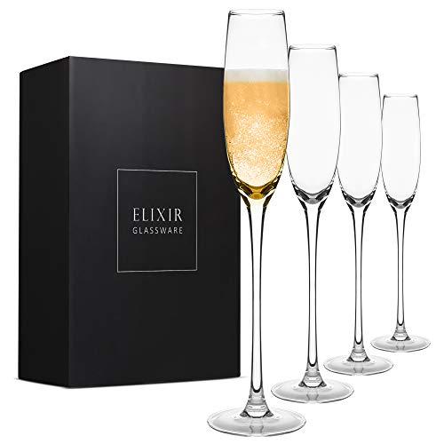 Crystal Champagne Flutes – Elegant Champagne Glasses, Hand Blown – Set of 4 Modern Champagne Flutes, 100% Lead Free…