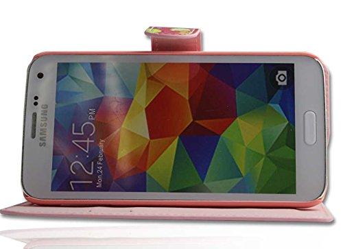 Handy Tasche Case book für Apple iPhone 5S Handytasche Hülle Eule pink
