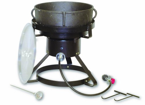 (King Kooker 1720 17-1/2-Inch Outdoor Cooker with 5 Gallon Cast Iron Jambalaya Pot Package )