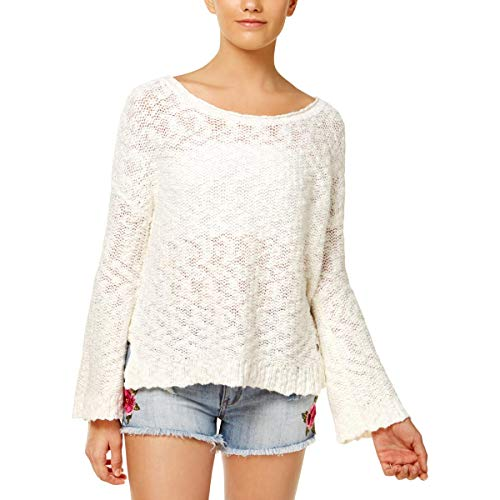 - Roxy Womens Juniors Can't Be Ignored Open Back Textured Pullover Sweater Ivory L