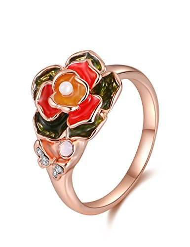 XZP Oil Flower Ring CZ Butterfly Made with Swarovski Crystal Rose Gold Plated Rings for women (Size 8) ()