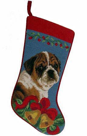 (Bulldog Christmas Stocking 100% Wool Hand-Stiched Needlpoint:)