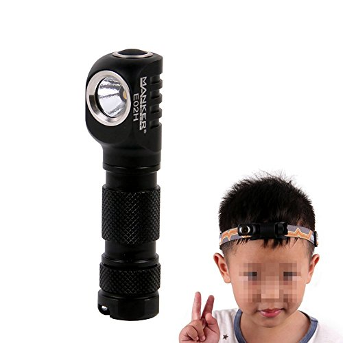 Manker E02H LED Headlamp Flashlight,180Lumen Angle Head light with Headband, Multi Purpose EDC AAA Flashlight w/ High CRI Nichia 219C LED, Reversible Clip & Magnet Base (Manker E02H Black Nichia 219C)